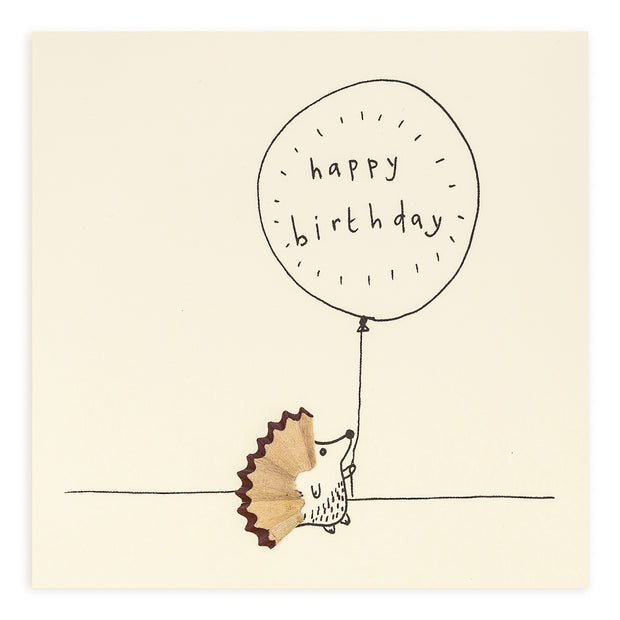 Pencil Shavings Hedgehog Happy Birthday Card