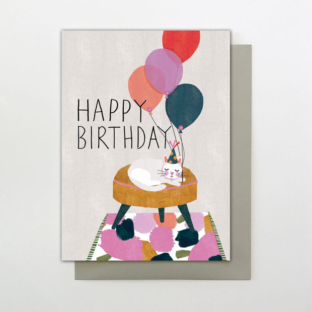 Stop the Clock Happy Birthday Cat Card