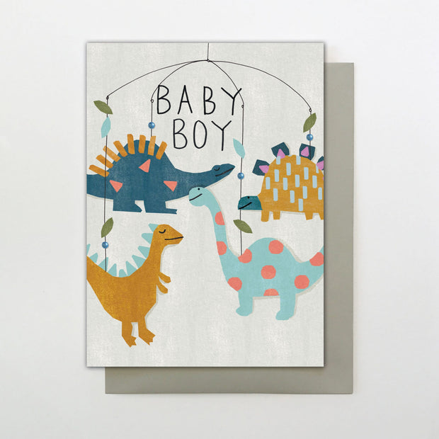 Stop the Clock Baby Boy Dino Greeting Card