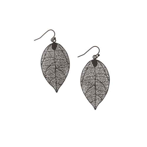 Small Black Leaf Earrings