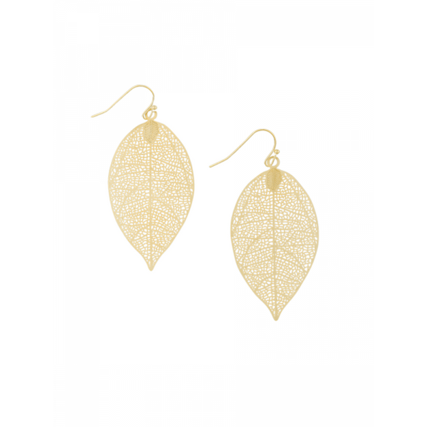 Small Gold Leaf Earrings by Tiger Tree