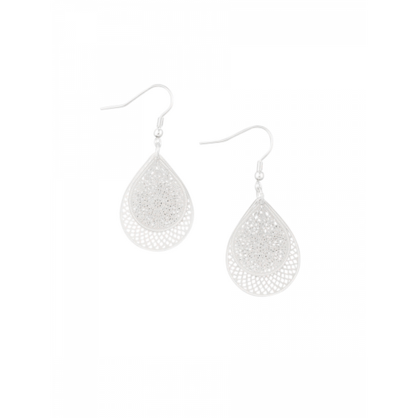 Silver Teardrop Web Earrings by Tiger Tree