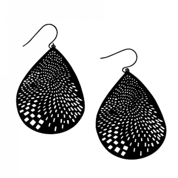 Black Curved Teardrop Earrings by Tiger Tree
