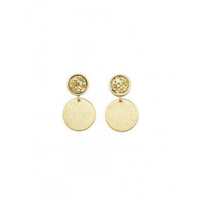 Gold Chipper Disk Earrings by Tiger Tree