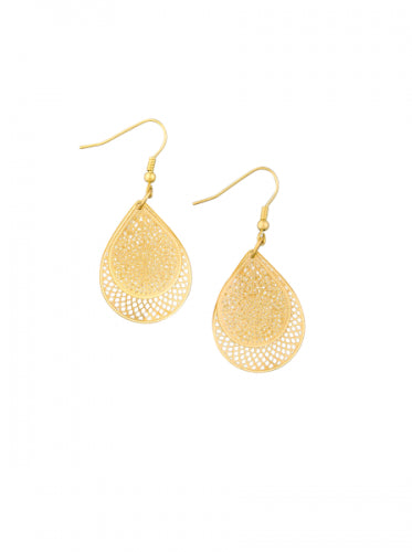 Gold Lace Tears Earrings by Tiger Tree