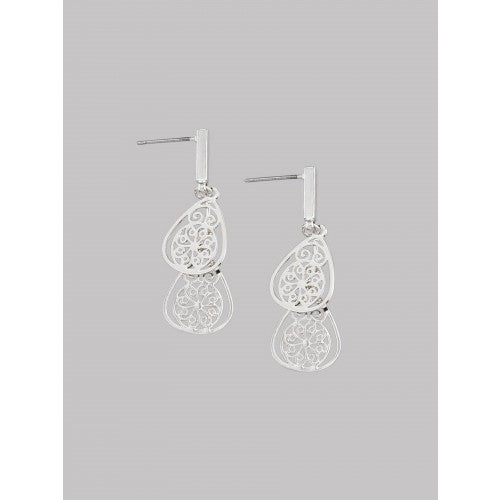 Silver Two Teardrop Earrings by Tiger Tree