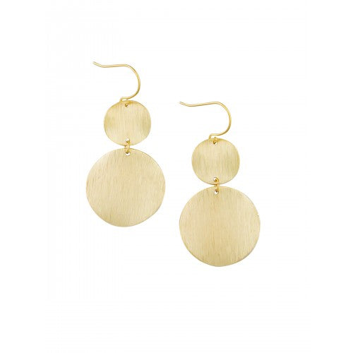 Gold Warped Double Disk Earrings by Tiger Tree