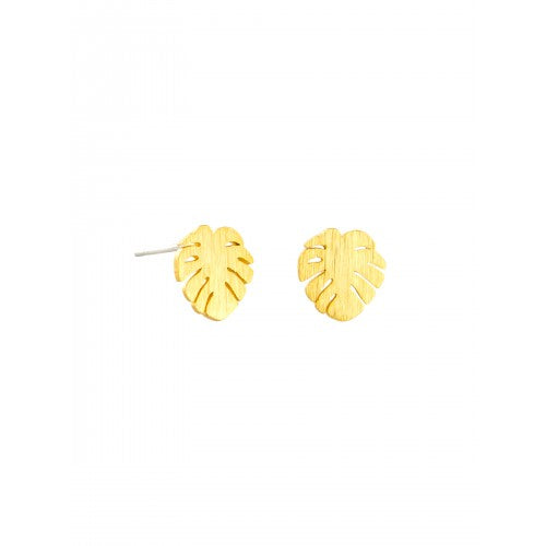 Gold Baby Monsteria Earrings by Tiger Tree