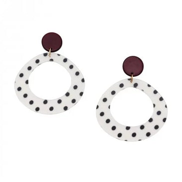 Tiger Tree White Polka Dot Drop Earrings