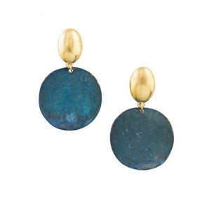 Tiger Tree Gold Patina Moon Disk Earrings