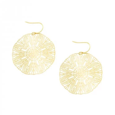 Tiger Tree Gold Large Circle Line Art Earrings