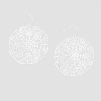 Tiger Tree Silver Large Circle Line Art Earrings