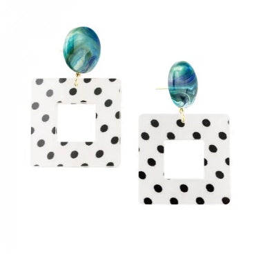 Tiger Tree White Square Spotty Earrings