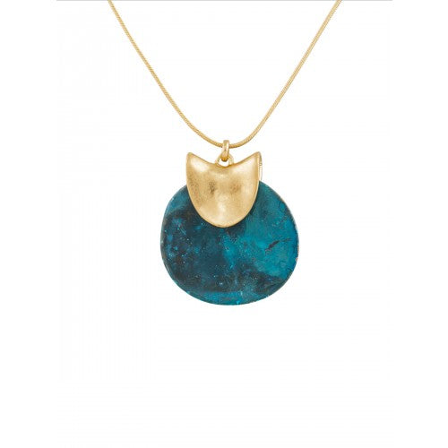 Tiger Tree Gold Patina Disk Necklace