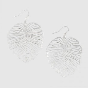 Tiger Tree Silver Festive Monstera Earrings