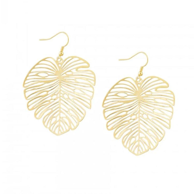 Tiger Tree Gold Festive Monstera Earrings