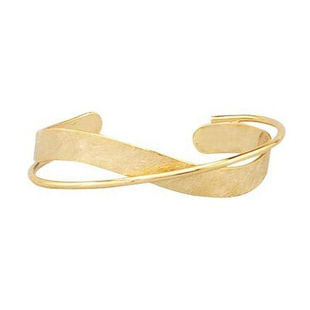 Tiger Tree Gold Scratched Twist Bangle