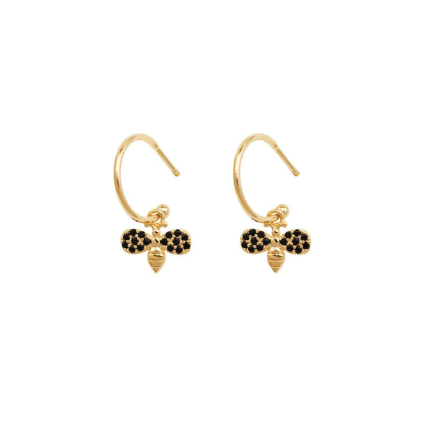 Tiger Tree Gold Mini Crystal Bee Hoops