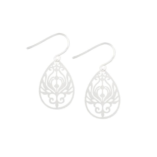 Tiger Tree Silver Mini Baroque Filigree Earrings