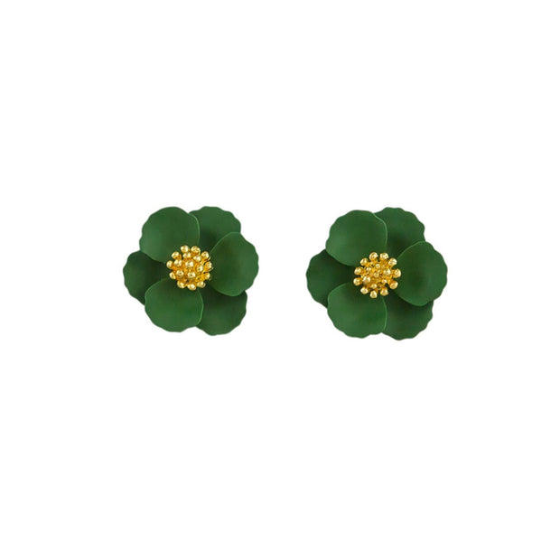 Tiger Tree Green Pansy Earrings