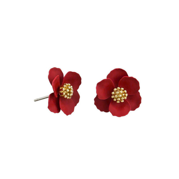Tiger Tree Red Pansy Earrings