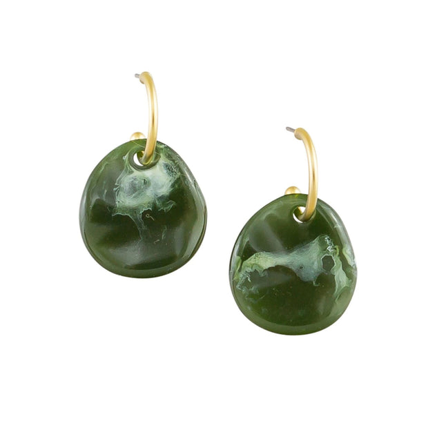 Tiger Tree Curved Moss Earrings
