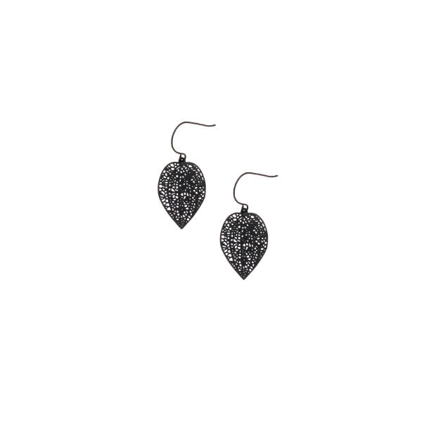 Tiger Tree Mini Black Leaf Earrings