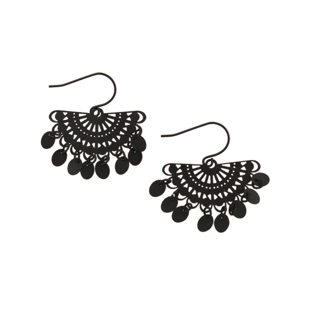 Tiger Tree Black Fan Tinkled Earrings