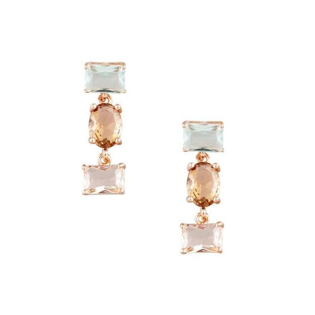 Tiger Tree Day Triple Shaped Crystal Earrings