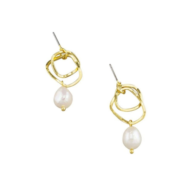 Tiger Tree Gold Double Ring & Pearl Earrings