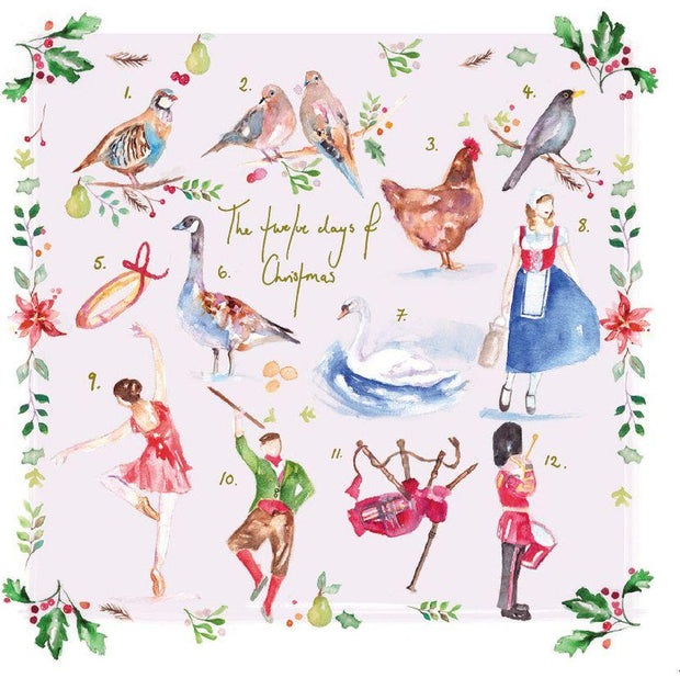 BCNA Charity Christmas Card Pack - Watercolour 12 Days