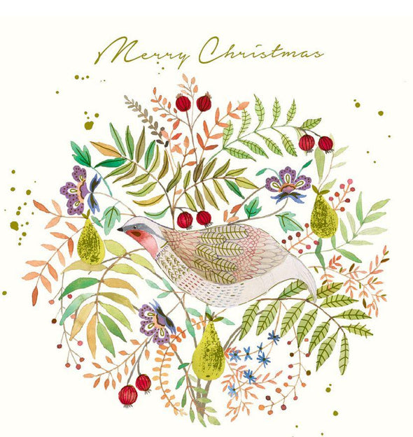 RSPCA Charity Christmas Card Pack - Partridge Wreath