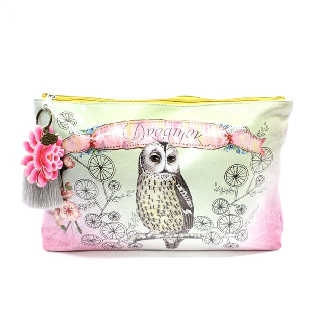 Papaya Owl Dreamer Large Accessory Pouch