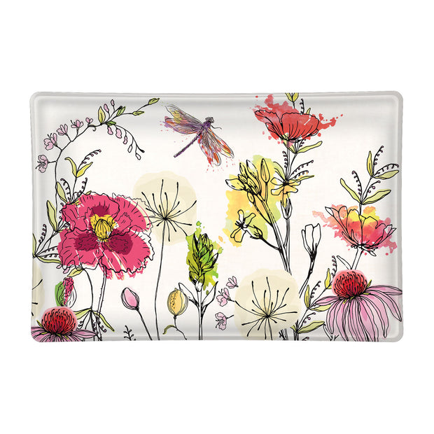 Michel Design Works Glass Rectangle Soap Dish - Posies