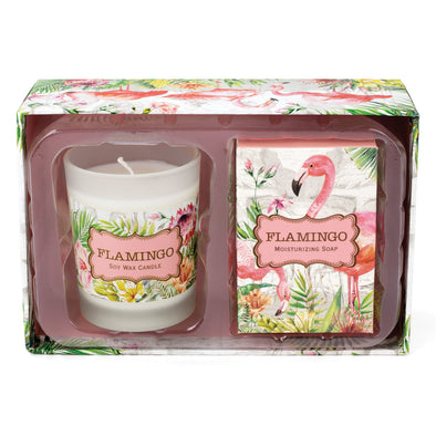 Michel Design Works Flamingo Candle & Soap Gift Set