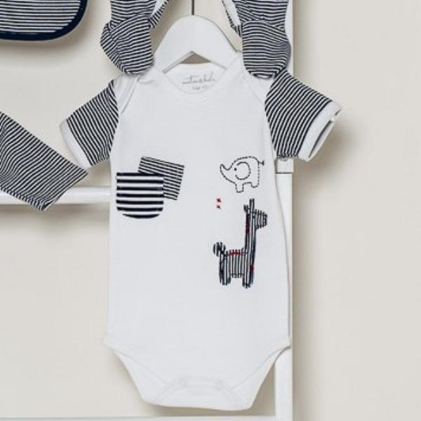 Navy & White Safari Short Sleeve Bodysuit - 3 to 6 Months