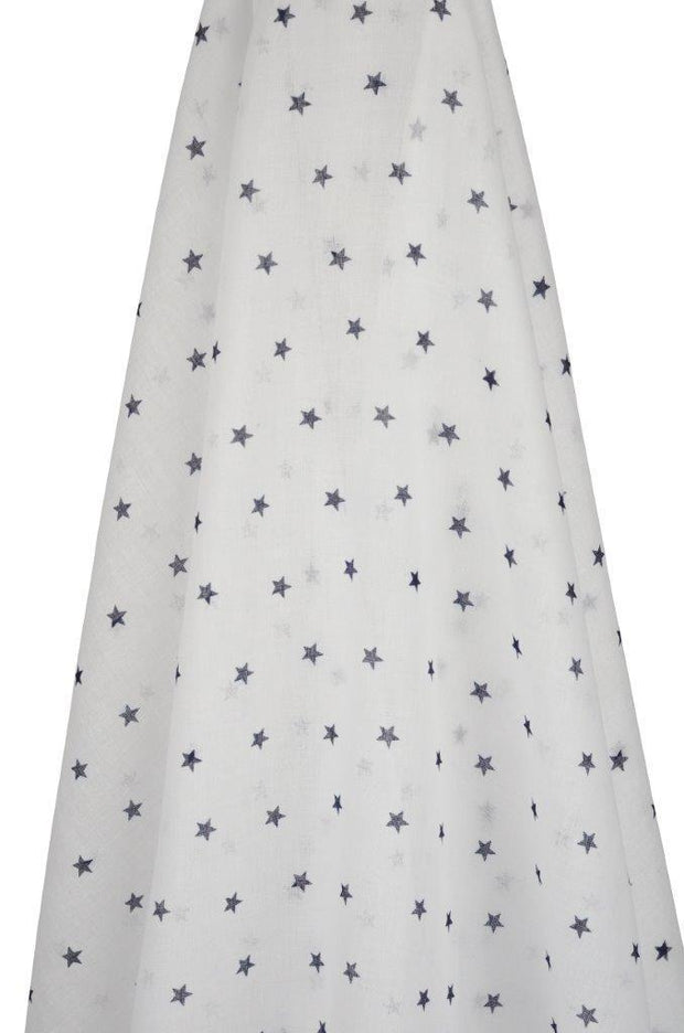 White Muslin with Navy Stars