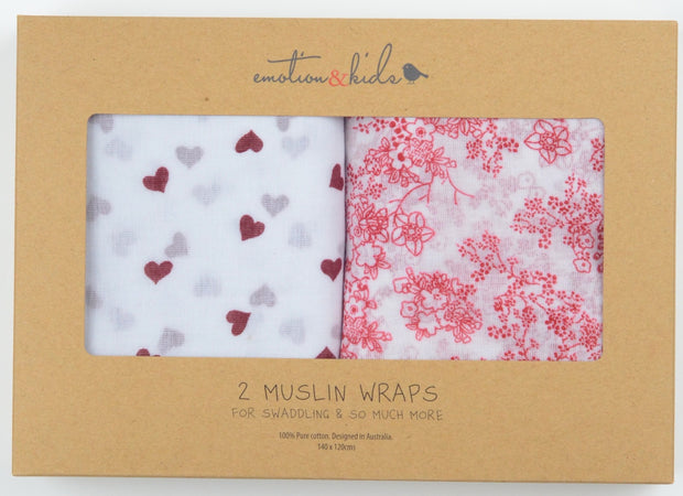 Japanese Blossom & Red Hearts Muslin 2 Pack