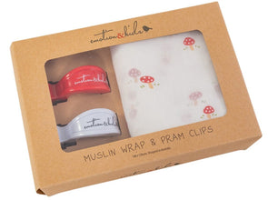 Mushroom Muslin & Red/White Pram Clips Pack
