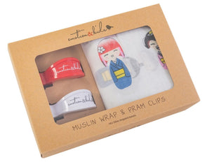Japanese Dolls Muslin & Red/White Pram Clips Pack