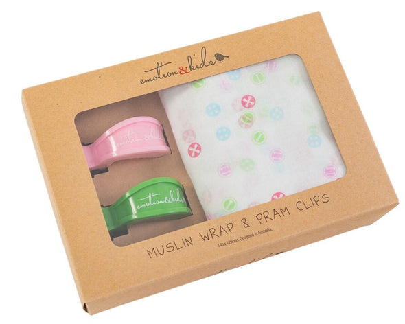 Button Muslin & Pink/Green Pram Clips Pack