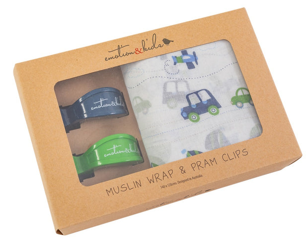 Transport Muslin & Navy/Green Pram Clips Pack