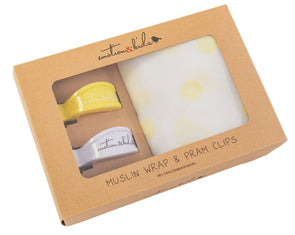 Lemon Spot Muslin Muslin & Yellow/White Pram Clips Pack