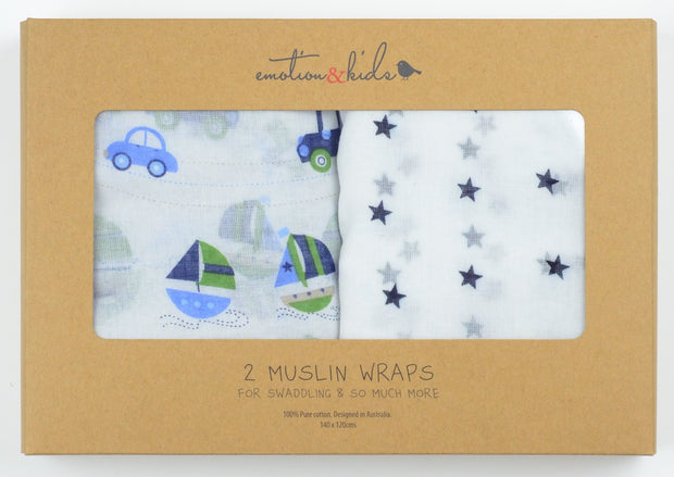 Navy Star & Transport Muslin 2 Pack