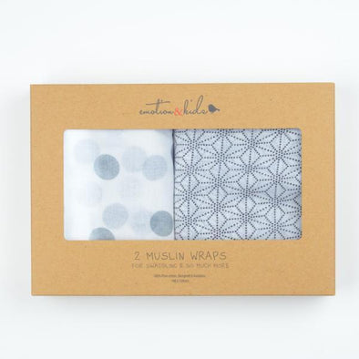 Grey Spots & Geometric Muslin 2 Pack