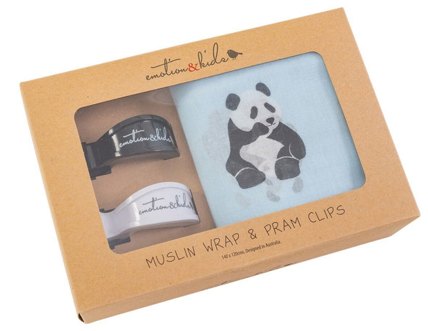 Panda Muslin & Black/White Pram Clips Pack