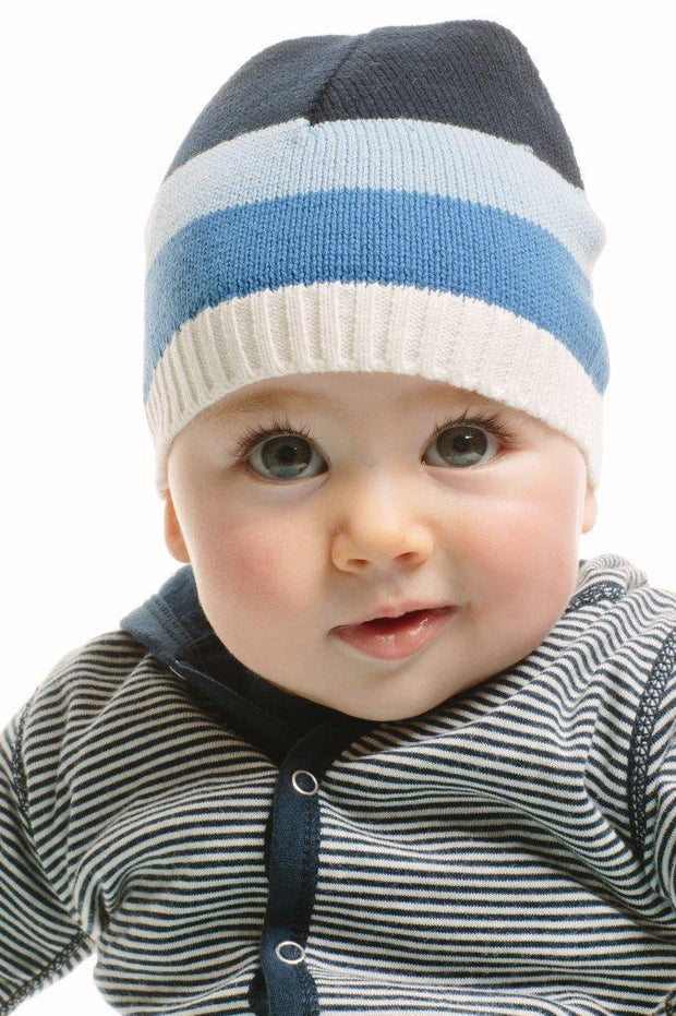 Blue Stripe Knitted Baby Hat