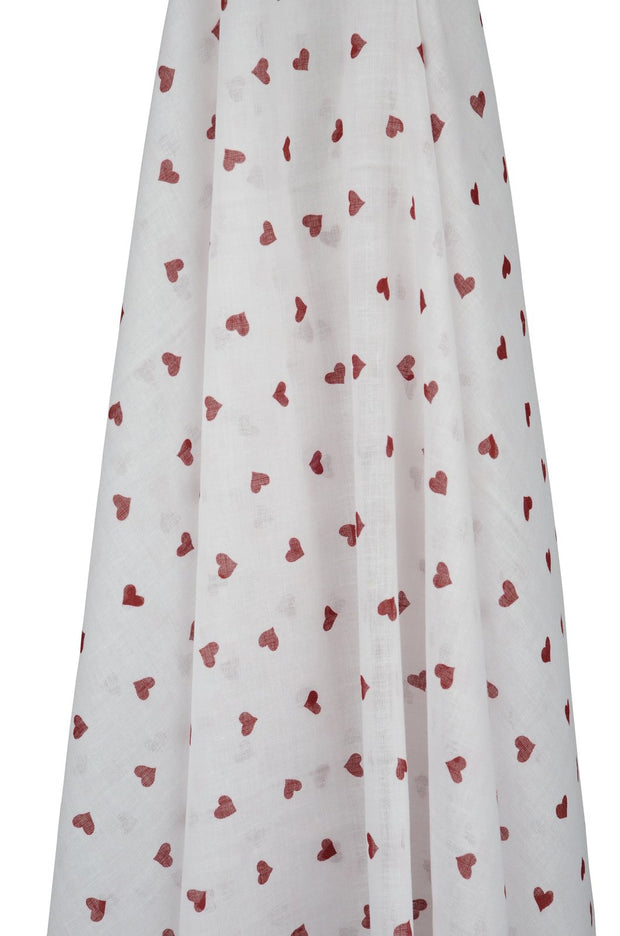 White Muslin with Pink Hearts