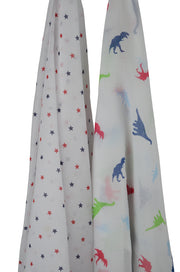Dinosaur & Navy/Red Stars Muslin 2 Pack