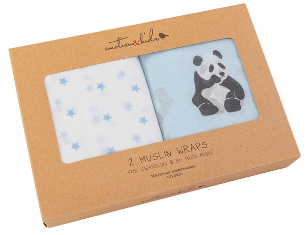 Panda & Blue Star Muslin Wraps - 2 Pack